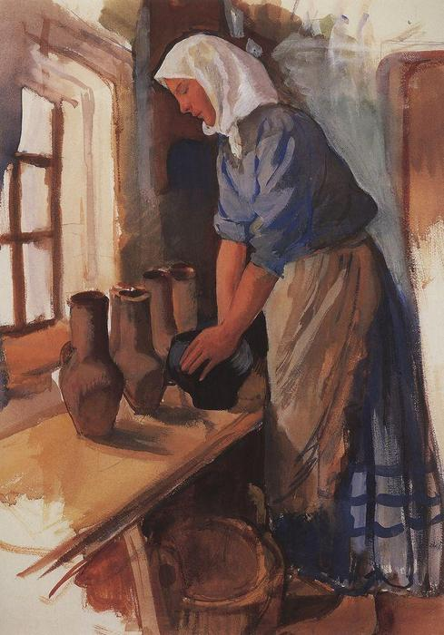 famous painting Peasant Woman with pots  of Zinaida Serebriakova
