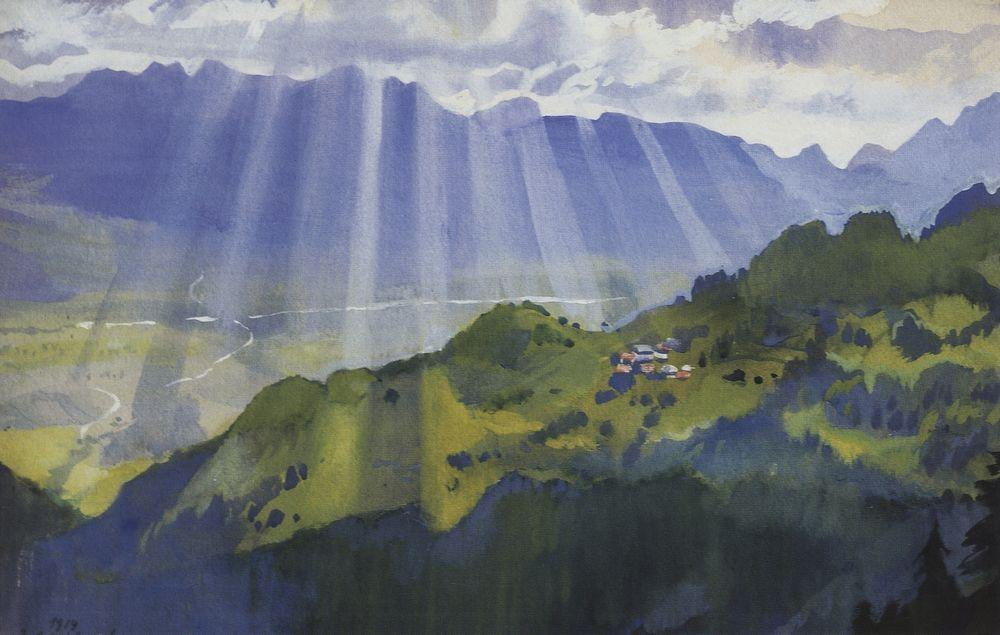 famous painting Mountain landscape. Switzerland  of Zinaida Serebriakova