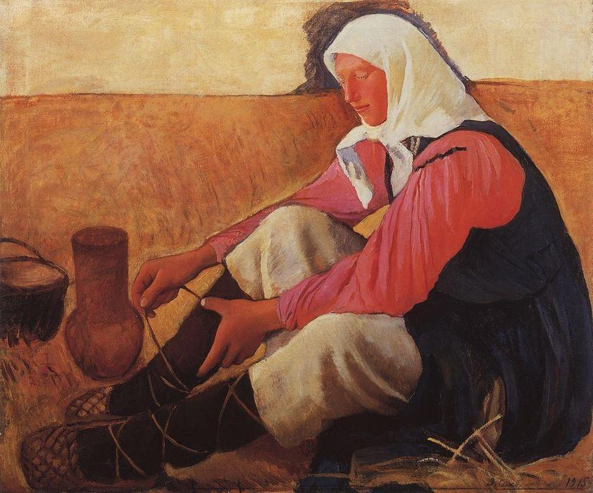 famous painting Put on one's shoes farmer  of Zinaida Serebriakova