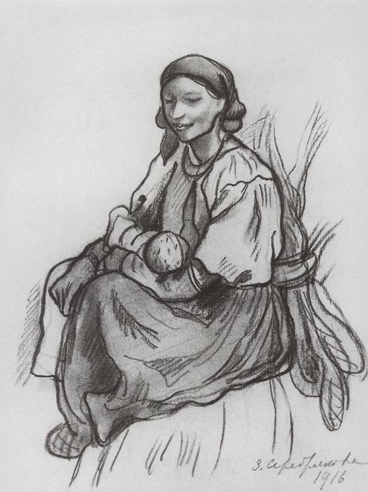 famous painting A peasant woman with a child  of Zinaida Serebriakova