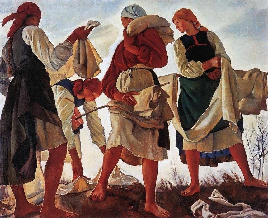 famous painting Whitening canvas  of Zinaida Serebriakova