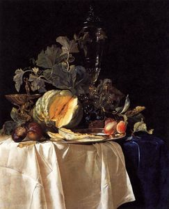Willem Van Aelst - Still-Life with Fruit and Crystal Vase