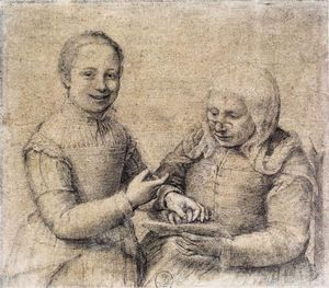 Sofonisba Anguissola - Old Woman Studying the Alphabet with a Laughing Girl
