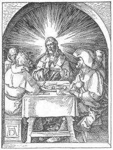 Albrecht Durer - Small Passion: 32. Christ and the Disciples at Emmaus