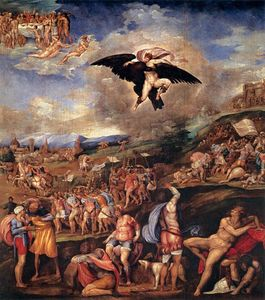 Battista Franco Veneziano - The Battle of Montemurlo and the Rape of Ganymede