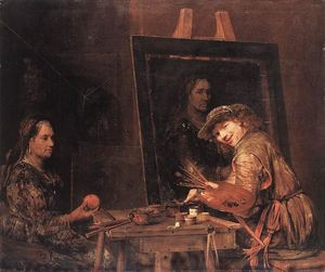 Aert De Gelder - Self-Portrait at an Easel Painting an Old Woman