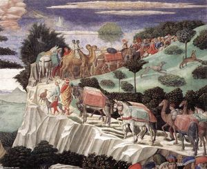 Benozzo Gozzoli - Procession of the Oldest King (detail) (8)