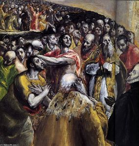 El Greco (Doménikos Theotokopoulos) - The Adoration of the Name of Jesus (detail)