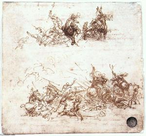 Leonardo Da Vinci - Study of battles on horseback and on foot