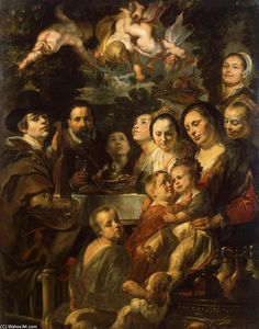 Jacob Jordaens - Self-Portrait among Parents, Brothers and Sisters