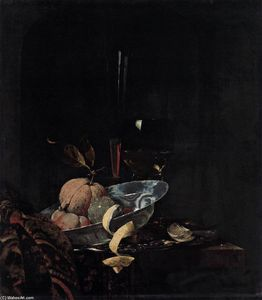 Willem Kalf - Still-Life with Fruit, Glassware, and a Wanli Bowl