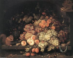 Abraham Mignon (Minjon) - Fruit Still-Life with Squirrel and Goldfinch