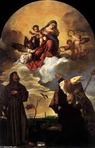 Tiziano Vecellio (Titian) - Madonna in Glory with the Christ Child and Sts Francis and Alvise with the Donor