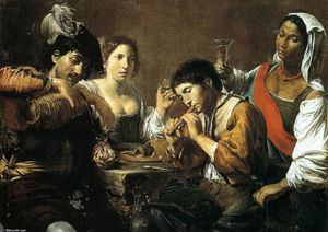 Valentin De Boulogne - Musician and Drinkers