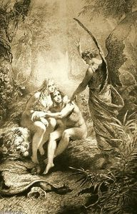 Mihaly Von Zichy - Illustration to Imre Madách's The Tragedy of Man: In the Paradise (Scene 2)