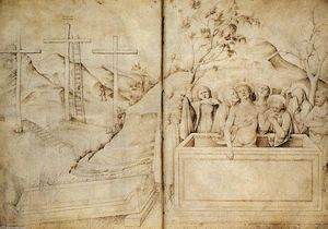 Jacopo Bellini - Lamentation (from the sketchook, folios 57b-58a)