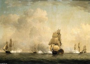 Charles Brooking - The Capture of a French Ship by Royal Family Privateers