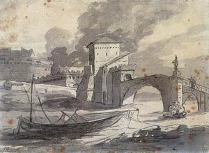 Jacques Louis David - View of the Tiber and Castel St Angelo