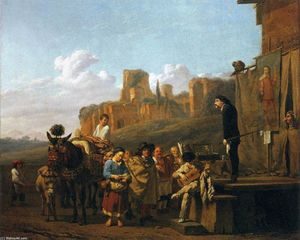 Karel Dujardin - A Party of Charlatans in an Italian Landscape