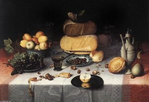 Floris Claesz Van Dijck - Laid Table with Cheeses and Fruit
