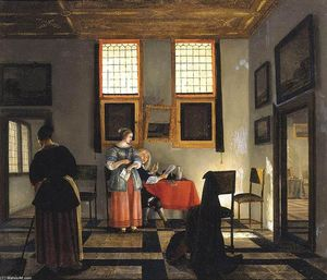 Pieter Janssens Elinga - Interior with Seated Figures
