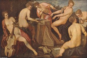 Tintoretto (Jacopo Comin) - Women Playing Music