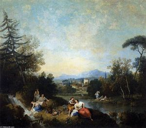 Francesco Zuccarelli - Landscape with Girls at the River