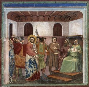 Giotto Di Bondone - No. 32 Scenes from the Life of Christ: 16. Christ before Caiaphas