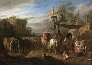 Pieter Van Bloemen - Riders Resting at a Military Encampment