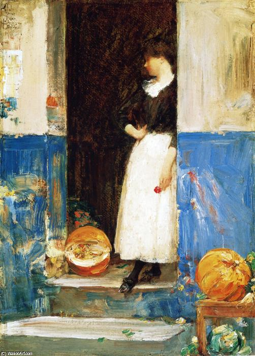 famous painting La Fruitiere (also known as A Fruit Store) of Frederick Childe Hassam