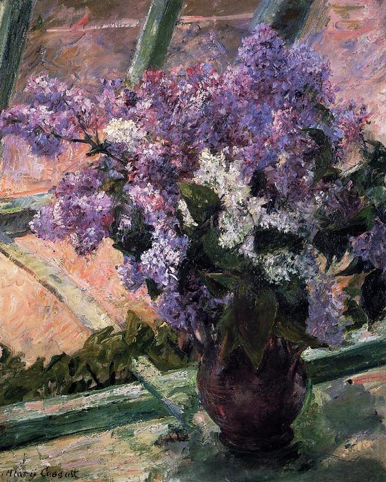 famous painting Lilacs in a Window of Mary Stevenson Cassatt