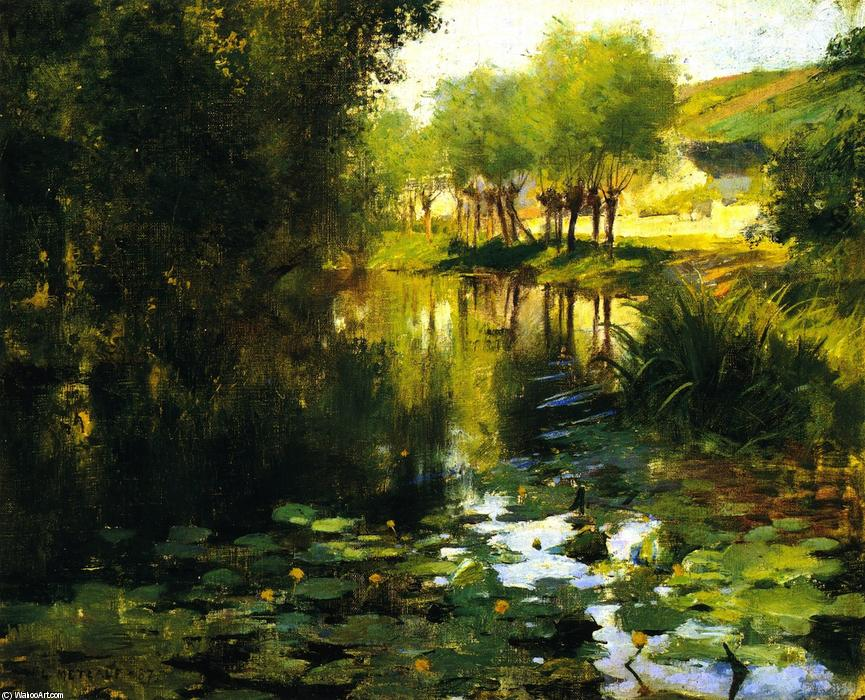 famous painting The Lily Pond of Willard Leroy Metcalf