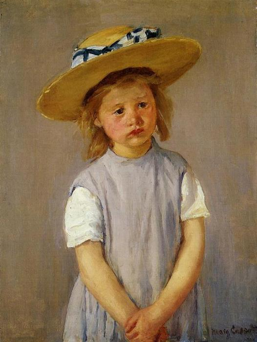 famous painting Little Girl in a Big Straw Hat and a Pinnafore of Mary Stevenson Cassatt