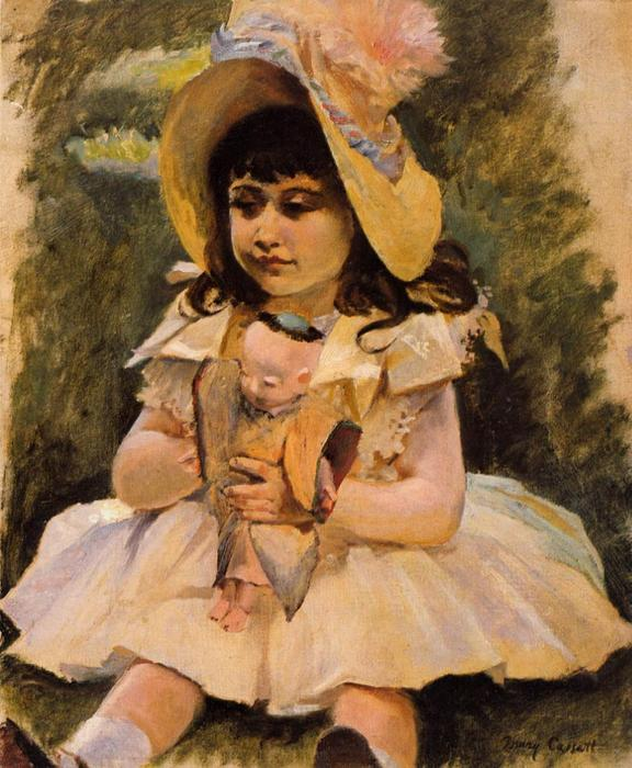famous painting Little Girl with a Japanese Doll of Mary Stevenson Cassatt