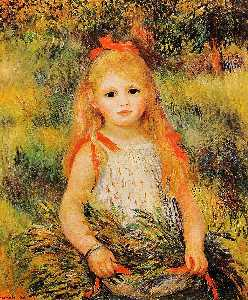 Pierre-Auguste Renoir - Little Girl with a Spray of Flowers