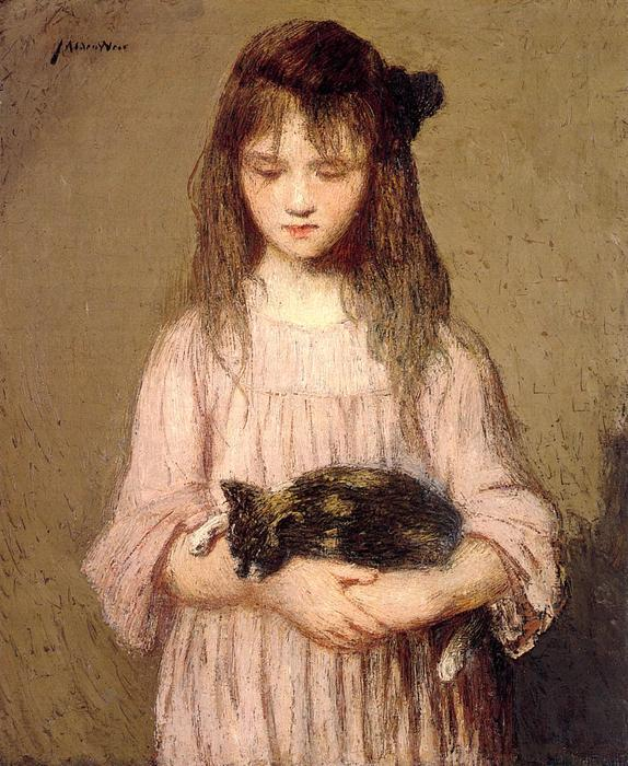 famous painting Little Lizie Lynch (also known as Portrait of a Young Girl) of Julian Alden Weir