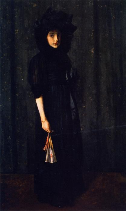 famous painting Little Miss C. (also known as Young Girl in Black,Portrait of Young Miss C.) of William Merritt Chase