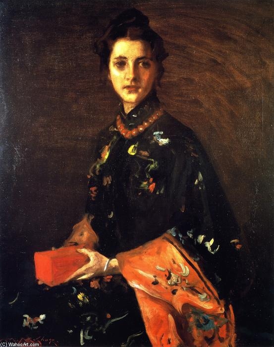famous painting The LIttle Red Box (also known as The Red Box) of William Merritt Chase