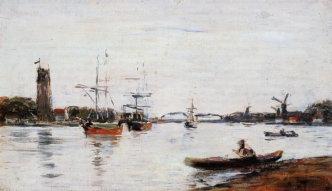 famous painting La Meuse at Dordrecht of Eugène Louis Boudin