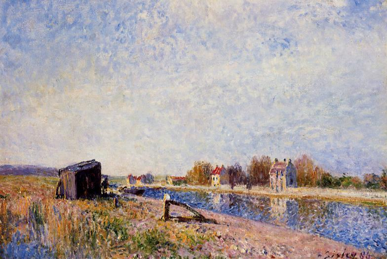 famous painting The Loing at Saint Mammes of Alfred Sisley