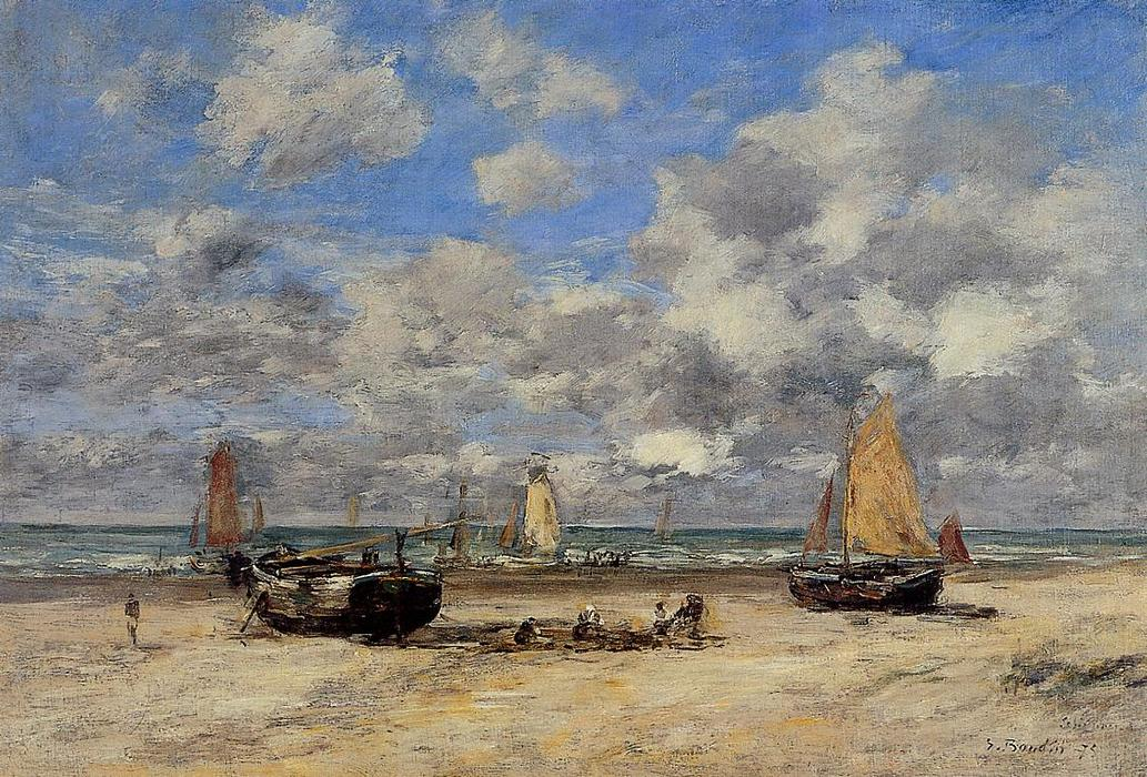 famous painting Low Tide at Scheveningen of Eugène Louis Boudin