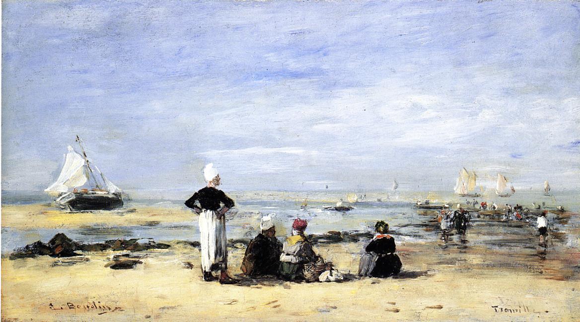 famous painting Low Tide at Trouville of Eugène Louis Boudin
