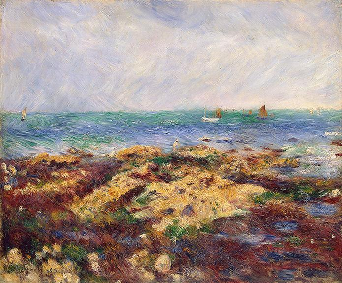 famous painting Low Tide at Yport of Pierre-Auguste Renoir