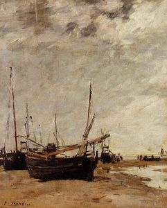 Eugène Louis Boudin - Low Tide, Grounded Sailboats