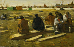 George Hendrik Breitner - Lunch Break at the Building Site in the Van Diemenstraat in Amsterdam