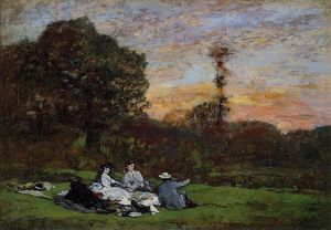 Eugène Louis Boudin - Luncheon on the Grass, the Family of Eugene Manet