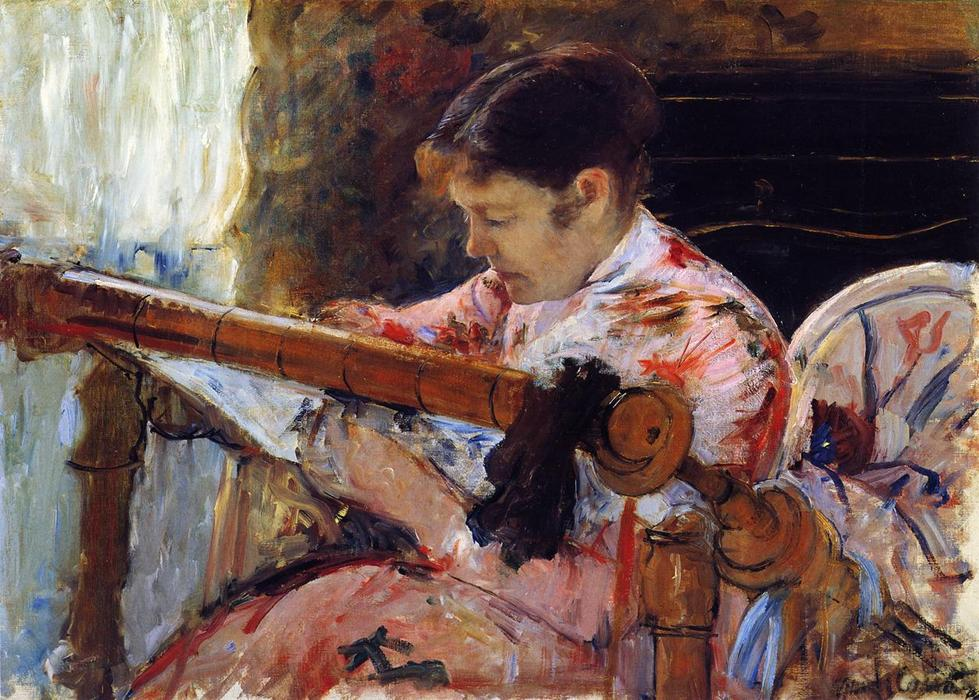 famous painting Lydia Seated at an Embroidery Frame of Mary Stevenson Cassatt