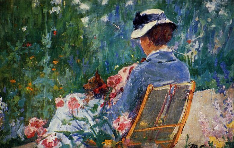 famous painting Lydia Seated in the Garden with a Dog in Her Lap of Mary Stevenson Cassatt