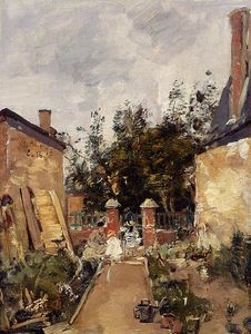 Eugène Louis Boudin - Madame S with Her Children in Their Garden at Trouville