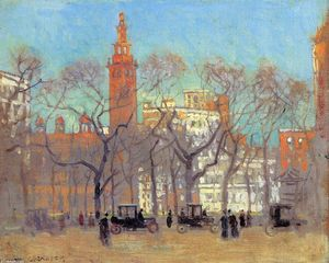 Paul Cornoyer - Madison Square on a Sunny Day